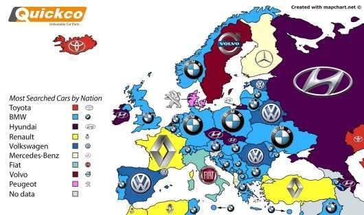 На цій карті показано де які автобренди найчастіше шукають