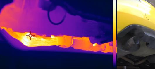 Дивіться як нагрівається вихлопна система автомобіля